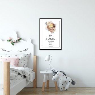 Plakat z metryczką i znakiem zodiaku dla chłopca