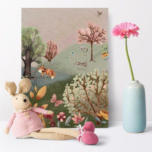 Kolorowy plakat dla dziewczynki - Kwiecista łąka