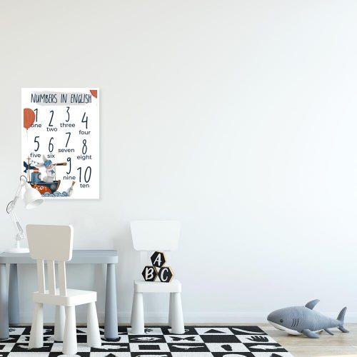 edukacyjny plakat do pokoju dziecinnego - Króliczek