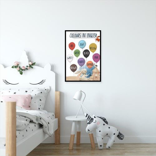 Dydaktyczny plakat dla dzieci z nazwami kolorów