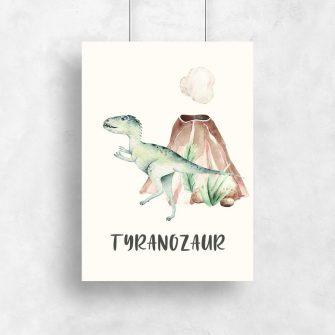 Plakat dla dziecka - Dinozaur z wulkanem