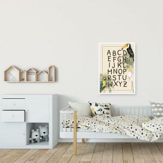 kolorowy plakat do pokoju dziecka - papużka