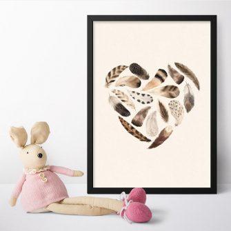 Plakat z brązowymi piórkami do pokoju niemowlaka
