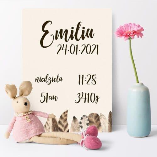 Plakat dla małej dziewczynki - metryczka