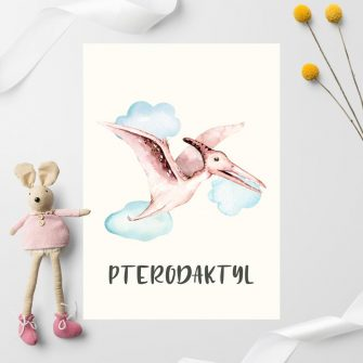 Lecący dinozaur - plakat dla dzieci