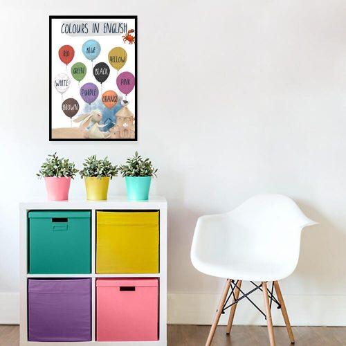 Angielskie nazwy kolorów - Plakat dla dzieci