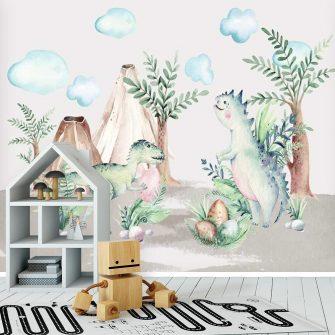 Foto-tapeta do pokoju dziecinnego z zielonym tyranozaurem