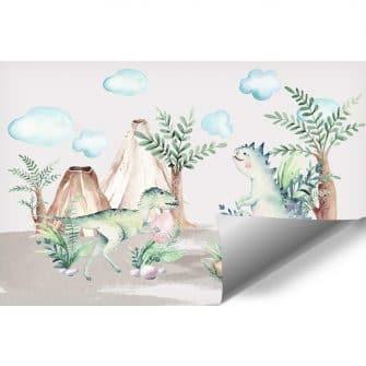 Zielony tyranozaur - Fototapeta dla dzieci