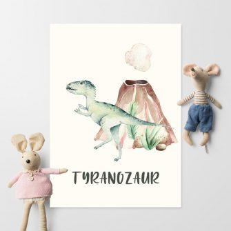 Plakat dla dziecka - Zielony T.Rex