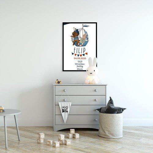 Plakat dla niemowlaka - Metryczka z misiem