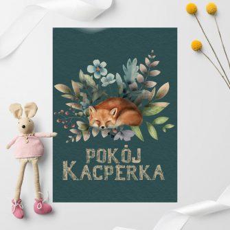 Plakat z napisem i liskiem
