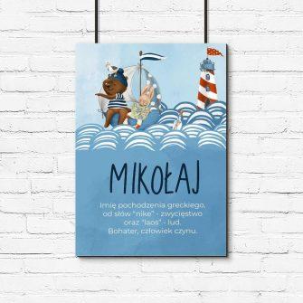 Marynarski plakat dziecięcy z imieniem
