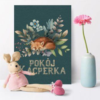 Plakaty dziecięce z liskiem i napisem