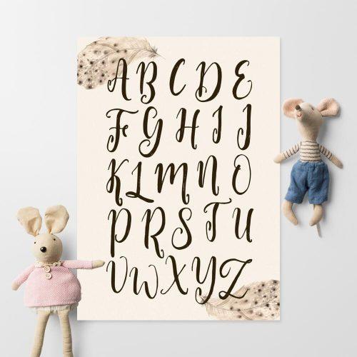 dydaktyczny plakat do dziecinnego pokoju - brązowe literki