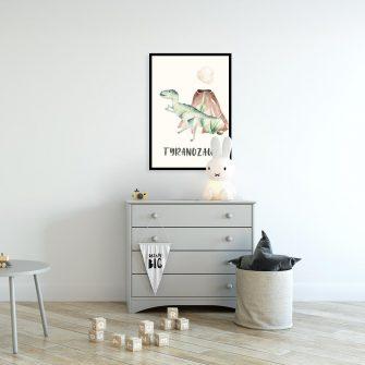 Plakat dla chłopca z tyranozaurem