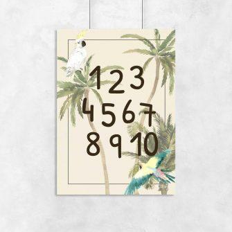 plakat w zielone palmy do pokoju dziecka