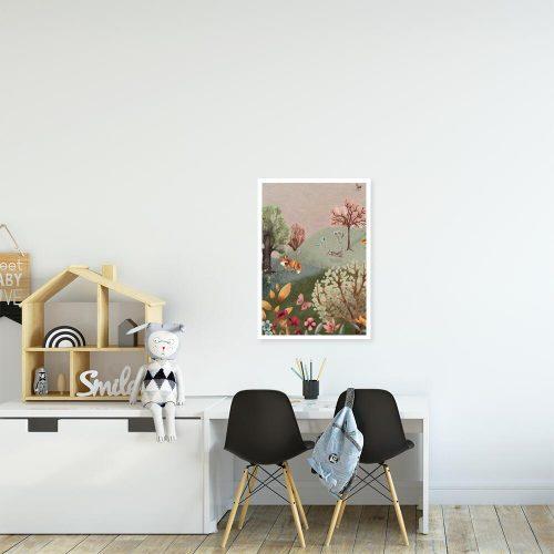 Barwny plakat dla przedszkolaka - Kwiecista łąka