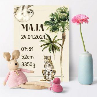 plakat z palma i datą urodzenia dla dzieci