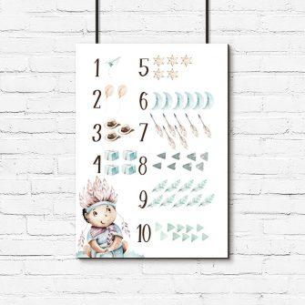 Cyferki - Plakat boho dla dzieci