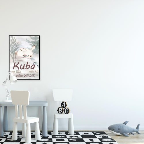 Plakat dla dziewczynki - Metryczka z królikiem