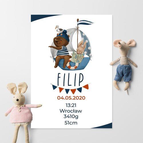 Niebieski plakat z metryczką do pokoju dziecka