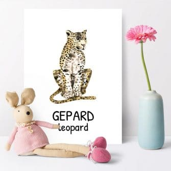 leopard - angielski napis na plakacie dla dzieci
