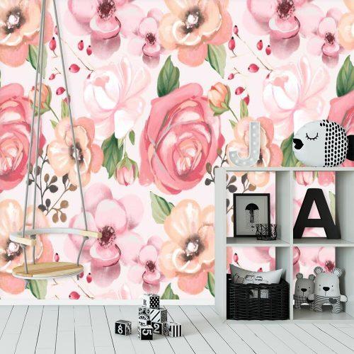 Różowa fototapeta do pokoju niemowlaka