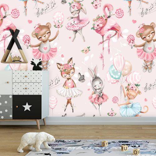 Różowa fototapeta do dziecięcego pokoju - Flaming