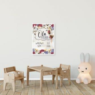 Plakat z imieniem dla dziewczynek - Kwiaty bzu