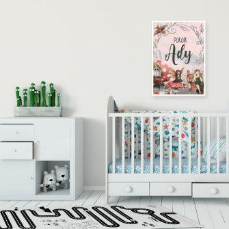 Imienny plakat z leśnym motywem do pokoju dziewczynki