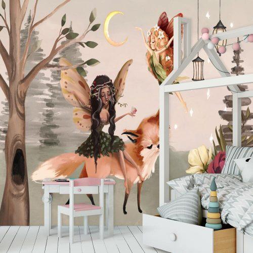 Leśna foto-tapeta dla dzieci z lisem i elfem