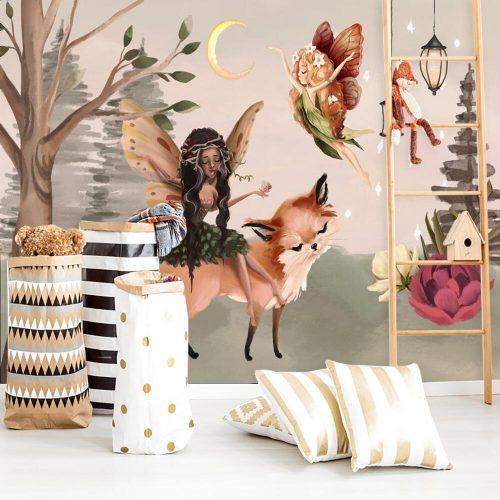 Leśna foto-tapeta dla dziewczynki z elfem i lisem