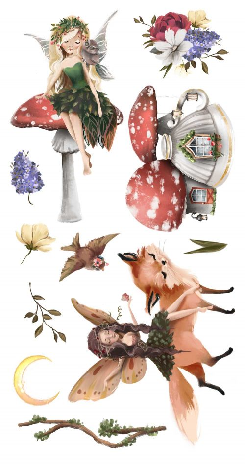 Leśne naklejki do dziecięcego pokoju - Kraina wróżek