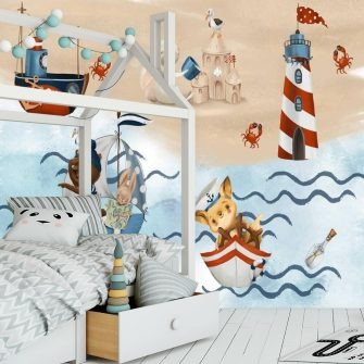 Fototapeta ze statkami i zwierzątkami dla dzieci