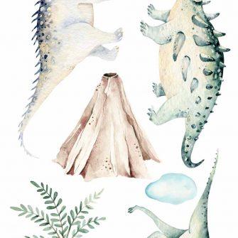 Bajkowe dinozaury - Naklejki do dziecinnego pokoiku