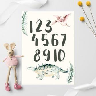 Plakat z dinozaurem dla dziecka