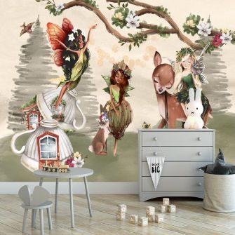 Śliczny króliczek i nimfy -fototapeta dla dzieci
