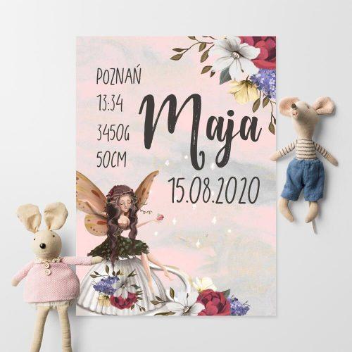 Imienny plakat do pokoju dziewczynki z wróżką