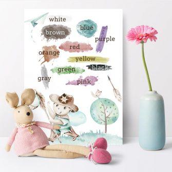Plakat dla chłopca - Kolory po angielsku
