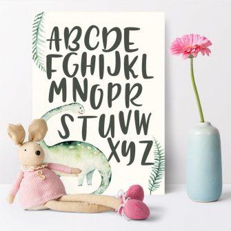 Diplozaur i napisy plakat dziecięcy