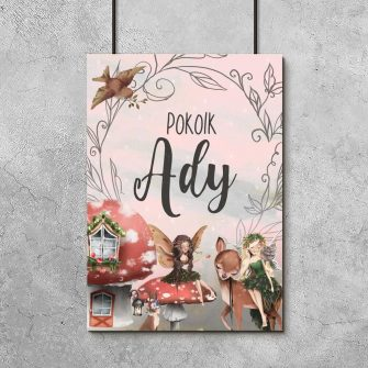 Imienny plakat do dziecięcego pokoju z leśnym motywem