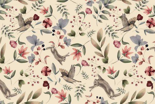 Wiosenna tapeta dla dzieci - króliczki