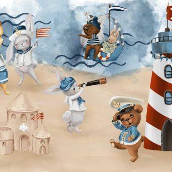 Kapitan Miś na pastelowej Plaży