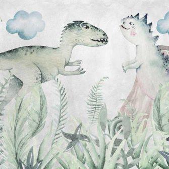 Foto-tapeta z dwoma dinozaurami