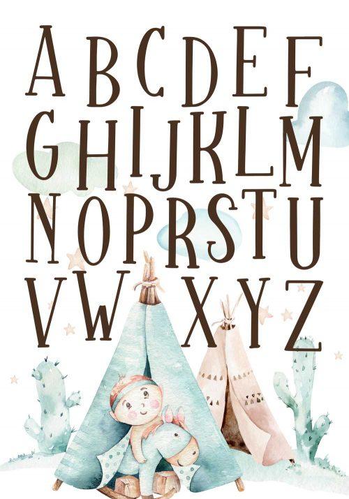 Plakat boho - Motyw alfabetu
