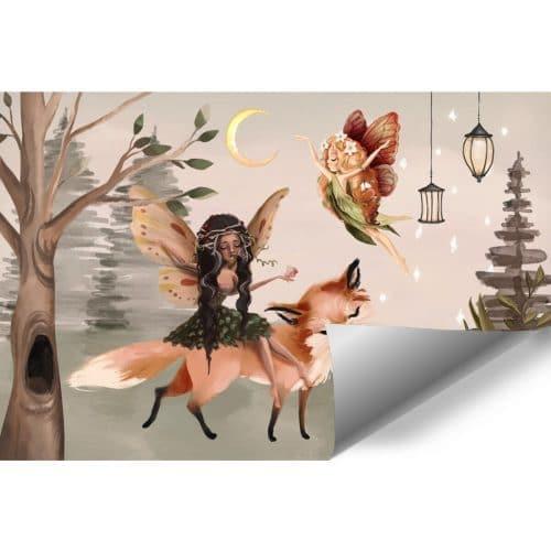 Leśna foto-tapeta dziecięca z liskiem