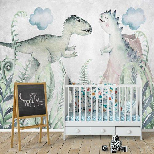 Foto-tapeta z dwoma dinozaurami dla chłopców