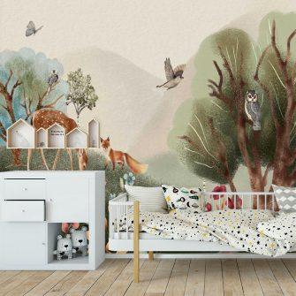 Bajkowy lasek- tapeta dla dzieci