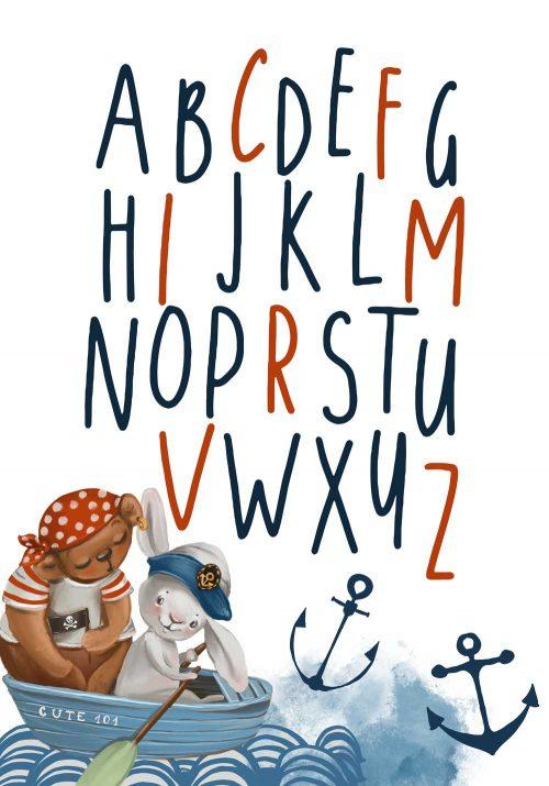 Plakat dziecięcy z alfabetem styl marynarski