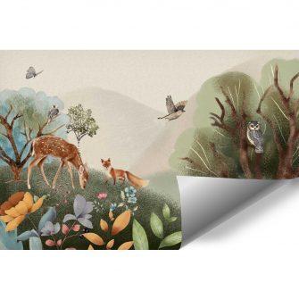 Motyw lasu - tapeta dla dzieci